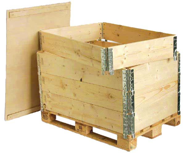 Wooden Pallet Collars With Hinged Corners