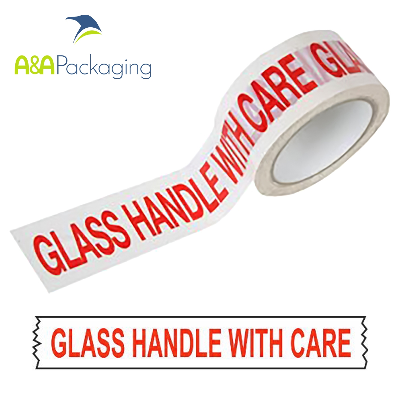Tape Printed Glass Handle With Care Vinyl 48mm x 66mtr