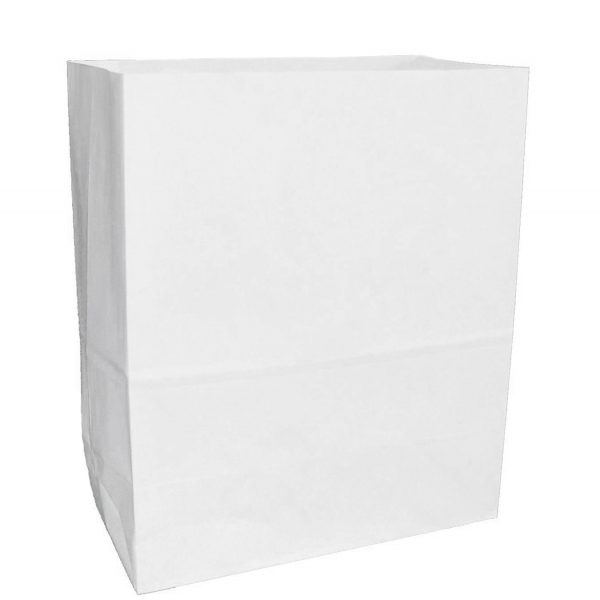1 LB White Block Bottom Paper Bags